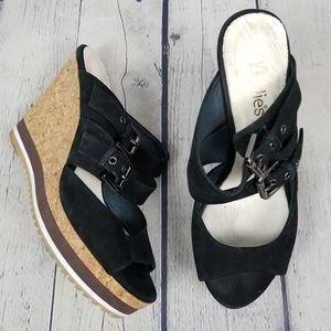 MILLIE'S | cork wedge suede strappy sandals